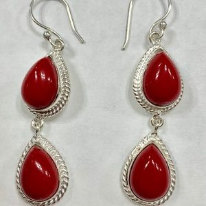 Red Coral Earrings 925 Overlay New